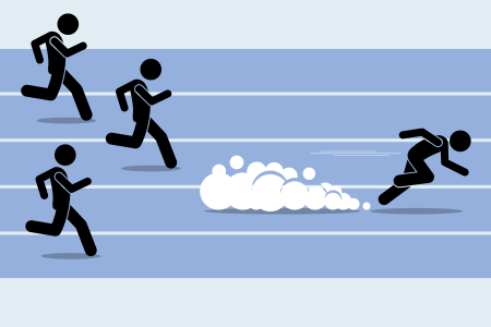 An illustration of eat my dust, with a man running.