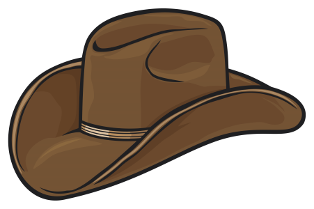 A brown cowboy hat.