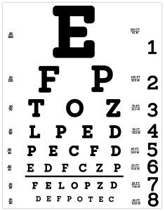 An eye chart measuring for 20/20 sight.
