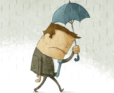 Man feeling under the weather holding an umbrella.