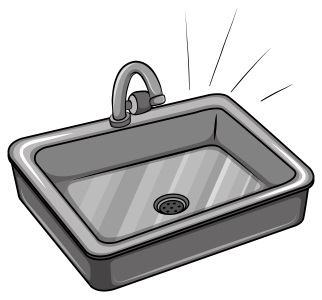 A drawing of a kitchen sink.