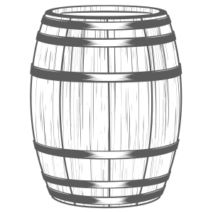 A Black and White Wooden Barrel