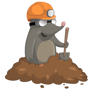 A mole emerging out of a molehill with a shovel.