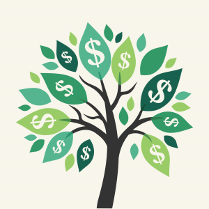 Illustration of the saying money does not grow on trees.