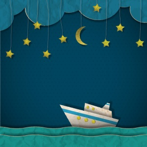 A ship sailing in the night.