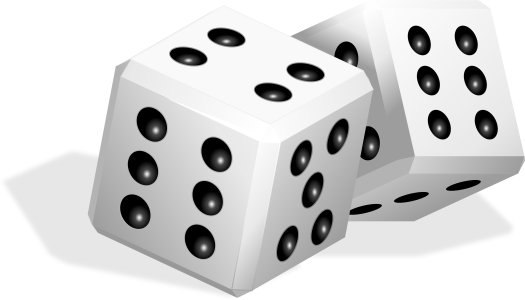 White dice used for games.