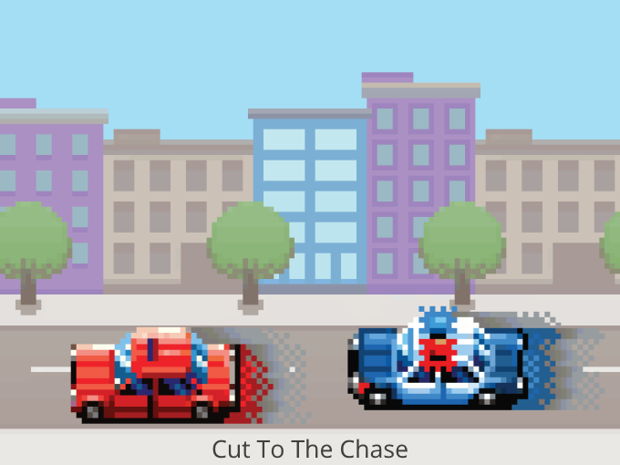 Cut to the chase, police car chasing a red vehicle.