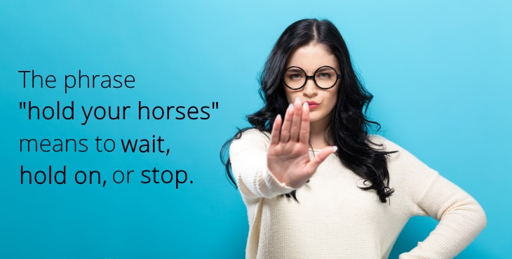 Idiom: Hold your horses.